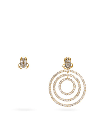 Begum Khan - Mini Me Drip Drop Mismatched Gold-plated Earrings - Womens - Crystal