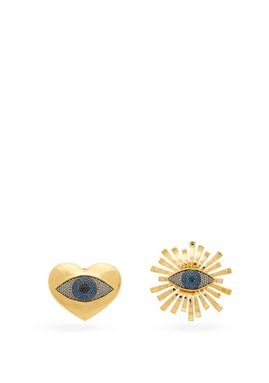 Begum Khan - All Hearts On Eye 24kt Gold-plated Clip Earrings - Womens - Gold Multi