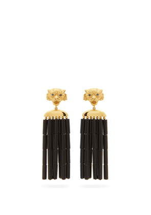 Begum Khan - Tiger Napoleon 24kt Gold-plated Clip Earrings - Womens - Black Gold
