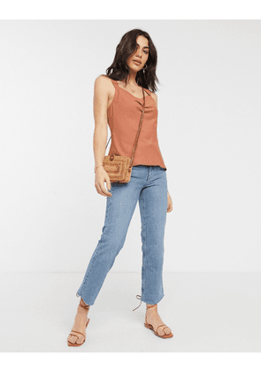 ASOS DESIGN sleeveless top with cowl neck in Rust-No Colour