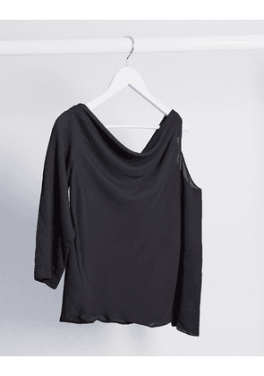 ASOS DESIGN long sleeve fallen shoulder top in black