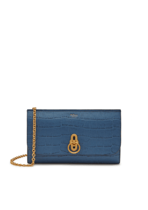 Mulberry Amberley Clutch in Pale Navy Matte Croc