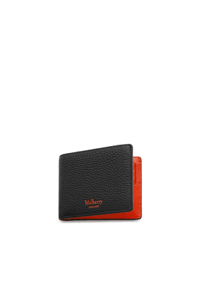 Mulberry 8 Card Wallet in Black and Bright Orange Heavy Grain