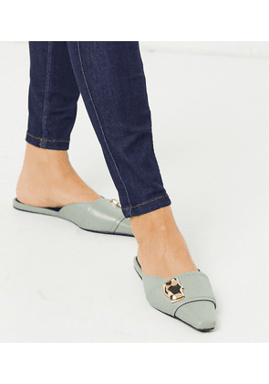 ASOS DESIGN Wide Fit Lavish premium leather embellished mules in mint-Green