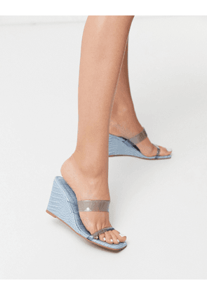 ASOS DESIGN Tune square toe wedges in blue