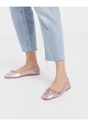 ASOS DESIGN Layer leather bow ballet flats in lilac metallic-Purple
