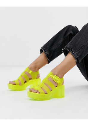 ASOS DESIGN Heated fisherman jelly heeled sandals in neon yellow