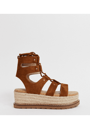 ASOS DESIGN Wide Fit Jive flatform espadrilles-Tan