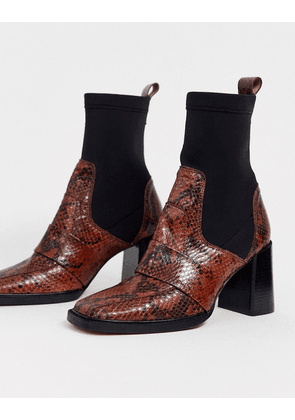 ASOS DESIGN Rhodes premium leather loafer sock boots in snake-Multi