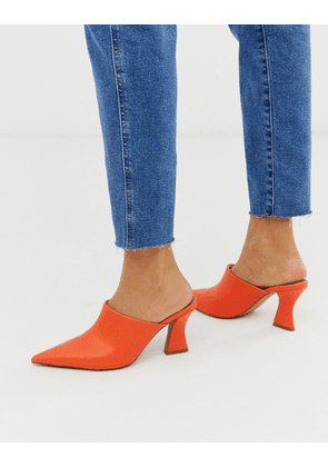 ASOS DESIGN Skye block heeled mules in tangerine-Orange