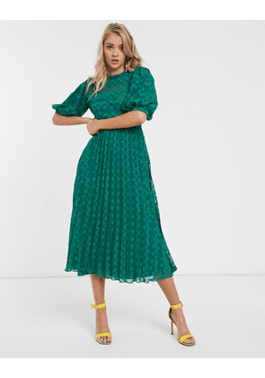 ASOS DESIGN high neck pleated chevron dobby midi dress with puff sleeve in green