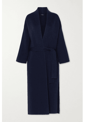 Akris - Belted Wool And Silk-blend Coat - Navy