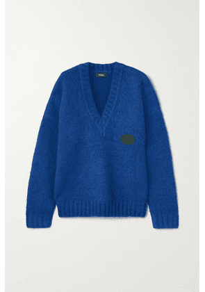 we11done - Oversized Appliquéd Knitted Sweater - Blue