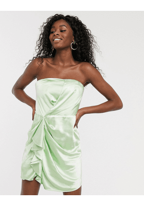 C/Meo Collective My Way satin bandeau mini dress in citron-Green