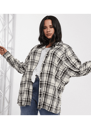 ASOS DESIGN Curve long sleeve boyfriend shirt in ivory and black check-Multi