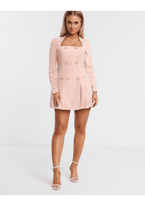 ASOS DESIGN glam double breasted jersey blazer with square neck-Pink