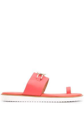 Michael Michael Kors logo plaque slip-on sandals - ORANGE
