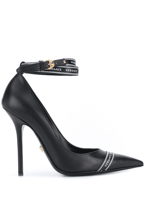 Versace logo-band pointed pumps - Black
