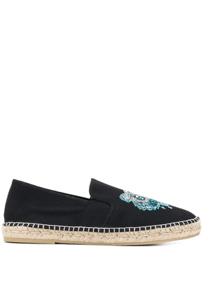 Kenzo Tiger embroidered slip-on espadrilles - Black