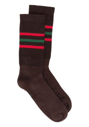 Gucci knitted striped logo socks - Brown