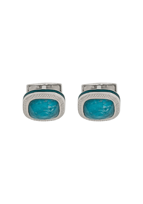 Tateossian quartz-detail engraved cufflinks - Blue