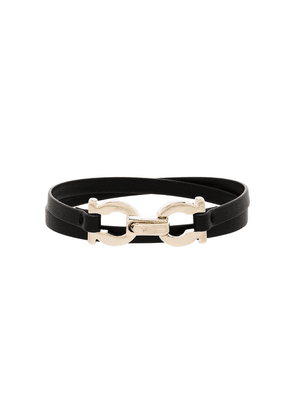 Salvatore Ferragamo Gancini leather bracelet - Black