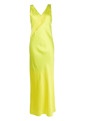 Helmut Lang v-neck long dress - Yellow