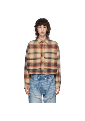 R13 Beige Oversized Cropped Shirt