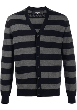 Dsquared2 striped long-sleeve cardigan - Blue