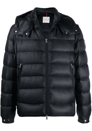 Moncler logo print quilted zipped jacket - Black