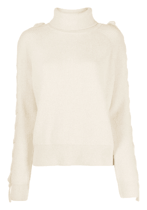 JW Anderson tie effect roll neck jumper - NEUTRALS
