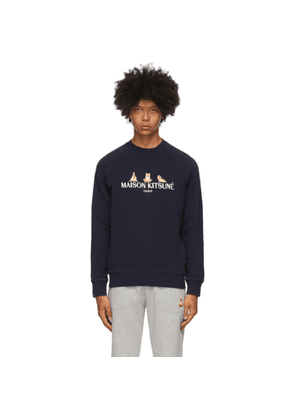 Maison Kitsune SSENSE Exclusive Navy 3 Yoga Foxes Sweatshirt