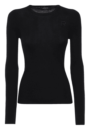 Logo Embroidery Ribbed Knit Wool Top