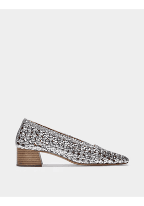 Taissa Mid-Heeled Pumps in Silver Woven Leather