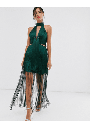 ASOS DESIGN midi dress in fringe with ring detail and high neck-Green