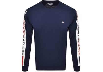 Tommy Jeans Tape Long Sleeve T Shirt Navy