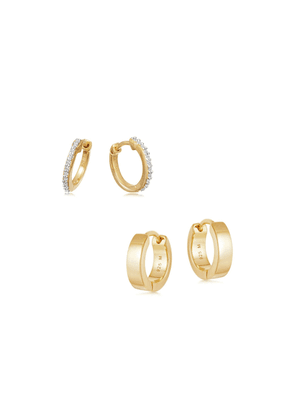Gold Classic Huggies Earring Set