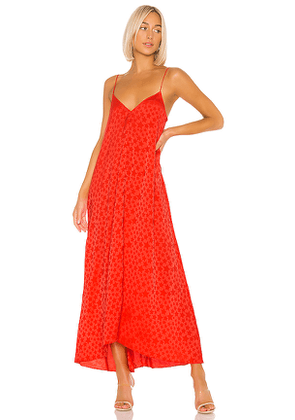 L'Academie The Amine Maxi Dress in Red. Size L,XL.
