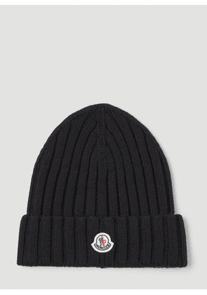 Moncler Chunky Knit Beanie Hat in Black size One Size