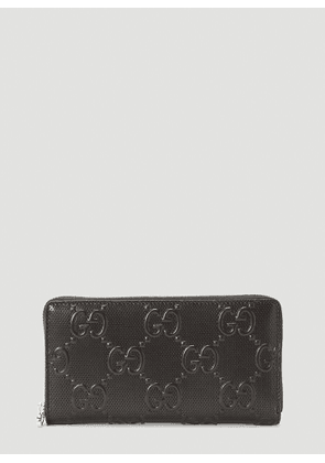 Gucci Perforated-Leather Zip-Around Wallet in Black size One Size