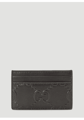 Gucci Perforated-Leather Card Holder in Black size One Size