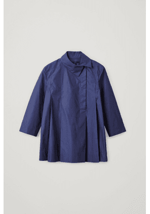 COTTON SHIRT WITH OFF-CENTER COLLAR