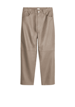 Tapered Leather Trousers - Beige
