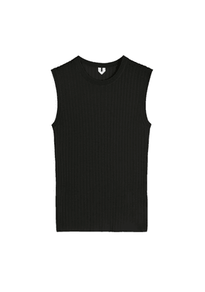 Silk Cotton Knitted Top - Black