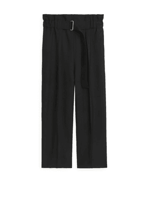 Relaxed Hopsack Trousers - Black