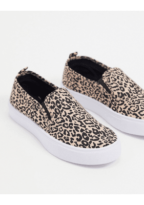 ASOS DESIGN Dotty slip on plimsolls in leopard-Multi