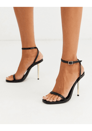 ASOS DESIGN Nation metal heel barely there heeled sandals in black