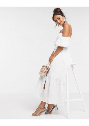 ASOS DESIGN textured off shoulder button through tiered maxi dress in white