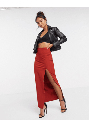 ASOS DESGIN maxi skirt with thigh split in rust-Red
