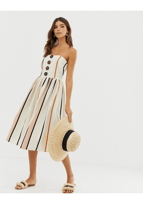 ASOS DESIGN bandeau midi sundress with coconut buttons in stripe-Multi